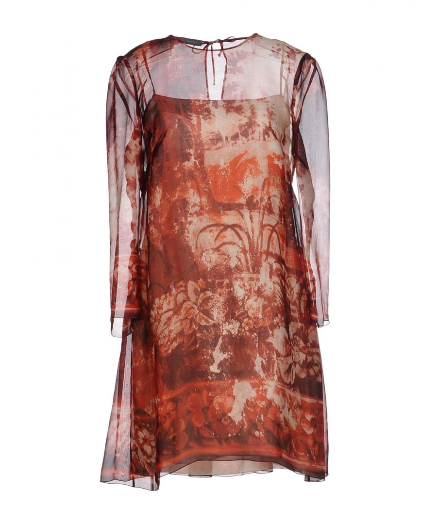 Image for Alberta Ferretti Maroon Print Silk Dress