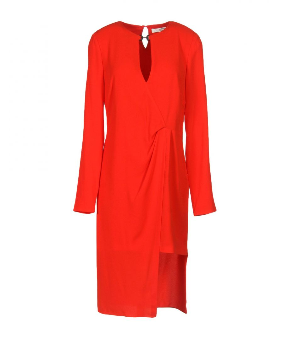 Image for Halston Red Crepe Long Sleeve Dress