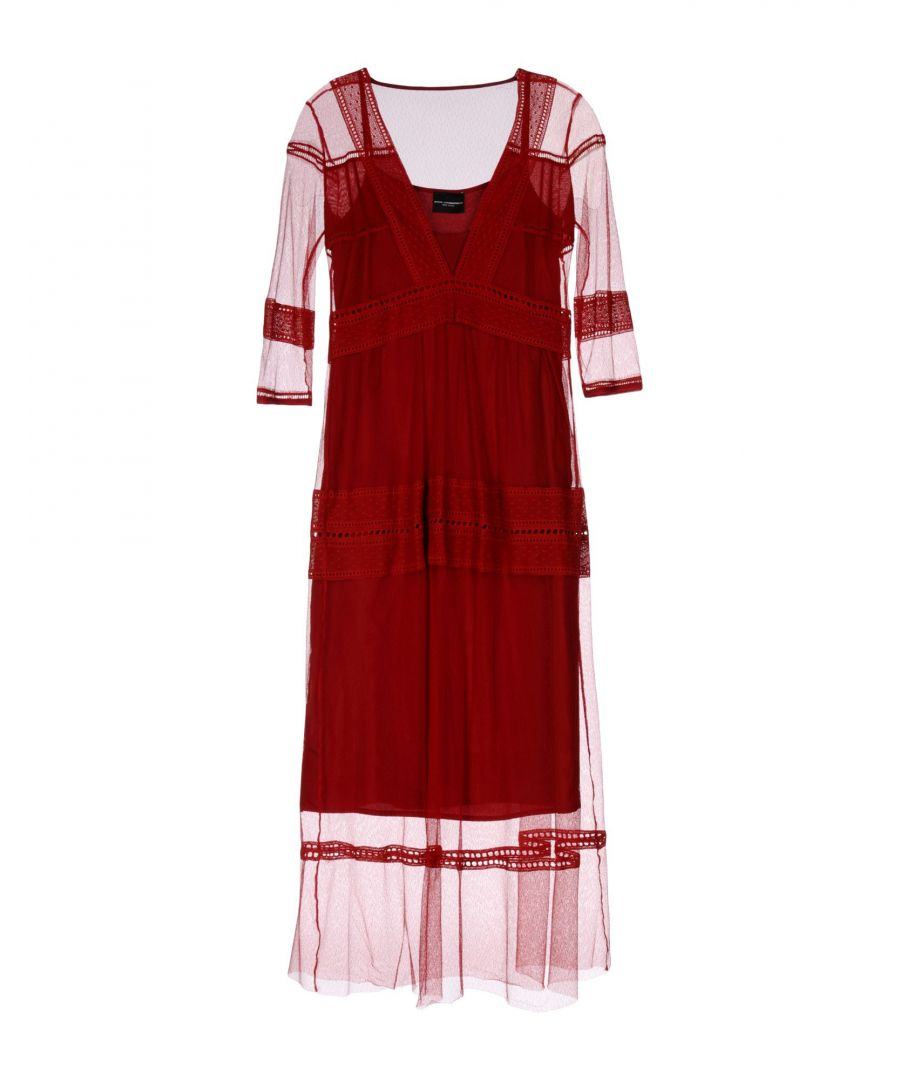 Image for Atos Lombardini Maroon Lace Dress
