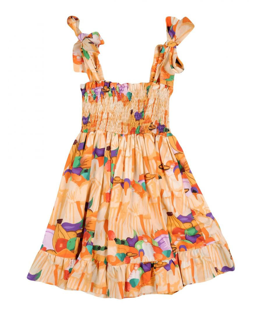 Image for Stella Jean Girls' Orange Cotton Dress
