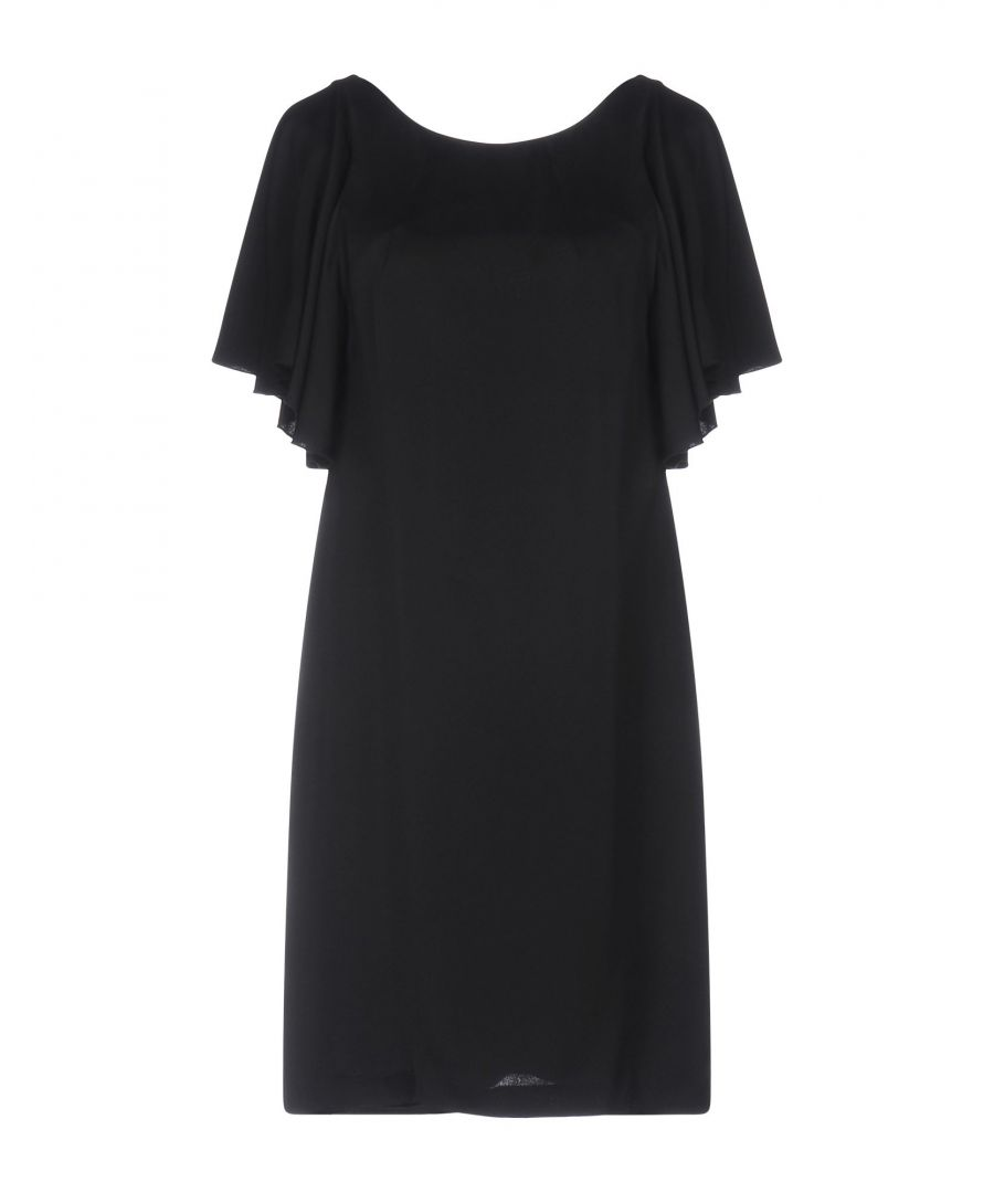 Image for Manila Grace Black Crepe Short Sleeve Dress