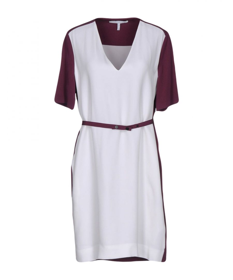 Image for Victoria, Victoria Beckham White Two Tone Belted Short Sleeve Dress