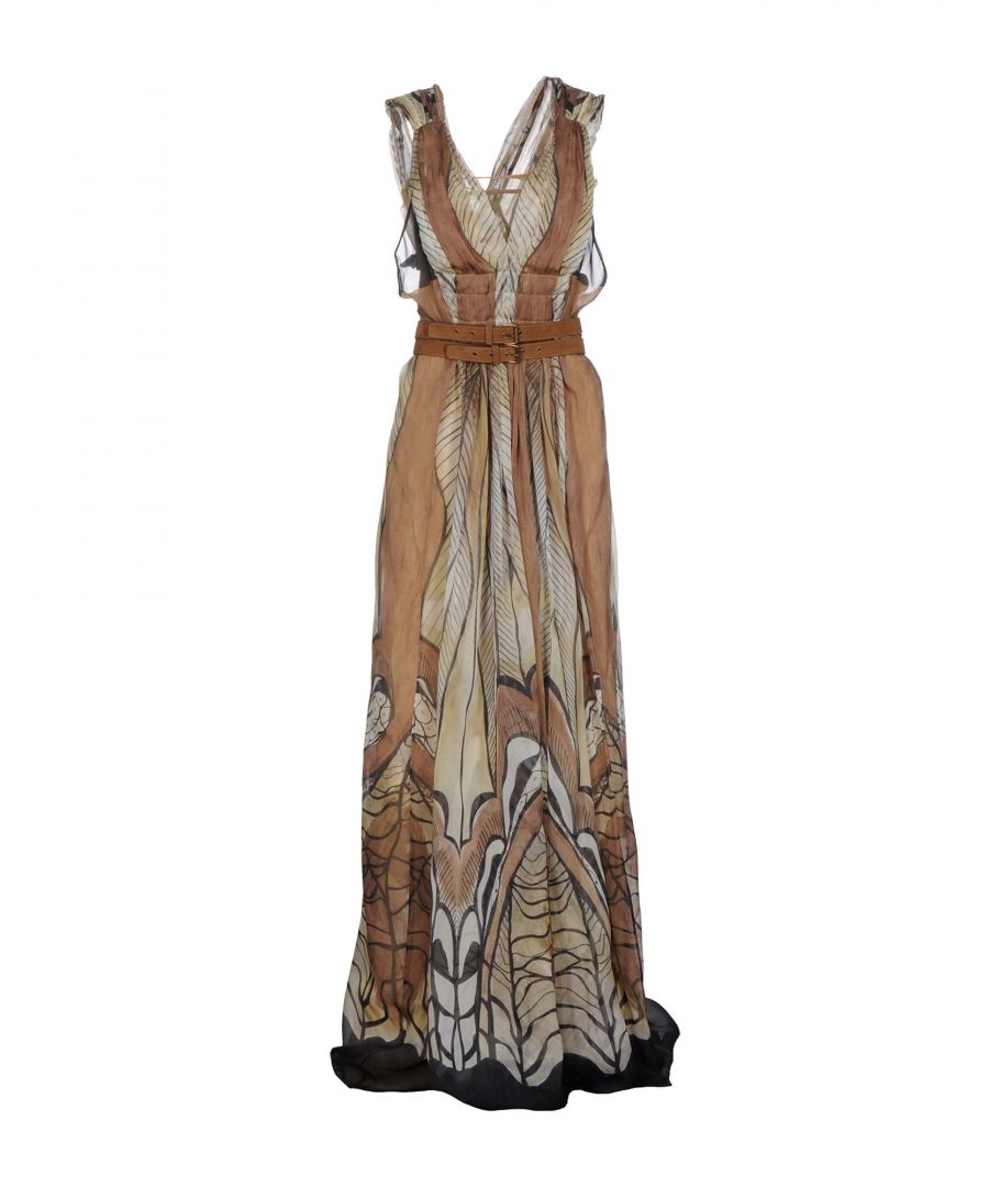 Image for Alberta Ferretti Beige Print Silk Full Length Dress