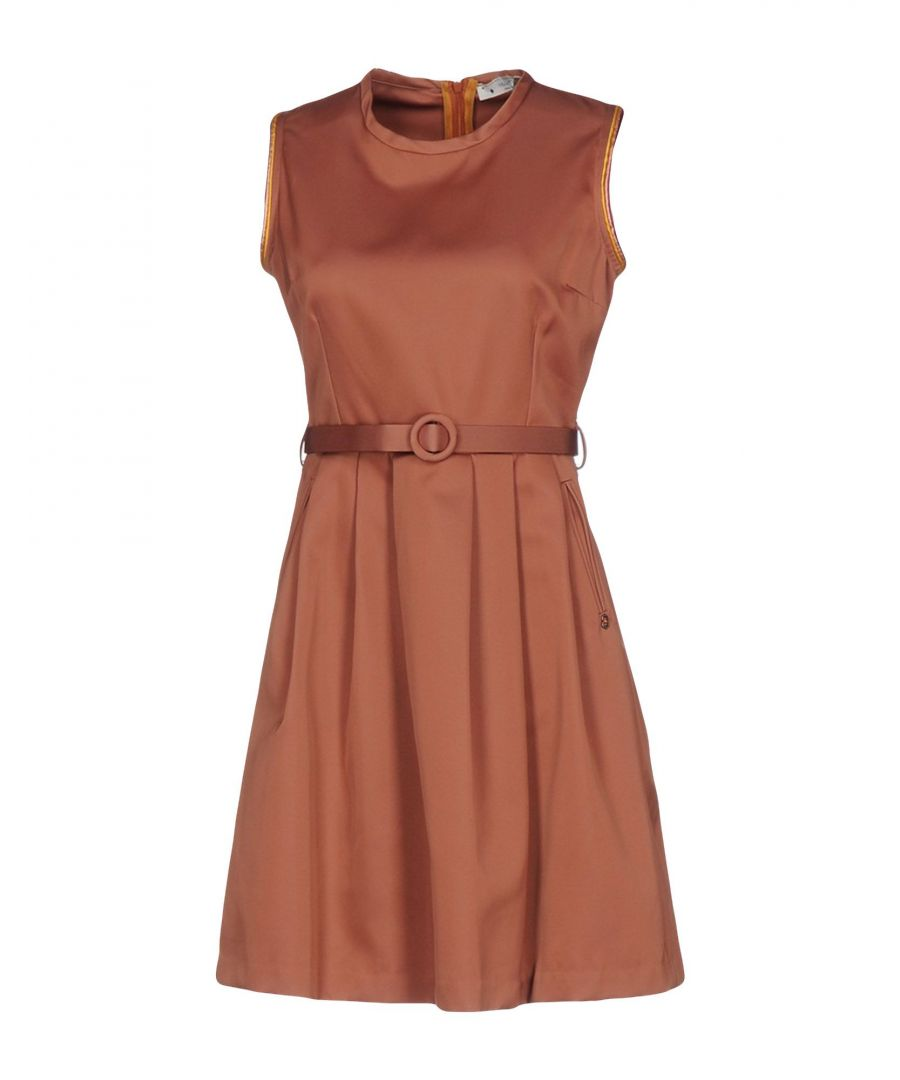 Image for Ottod'Ame Light Brown Satin Belted Dress