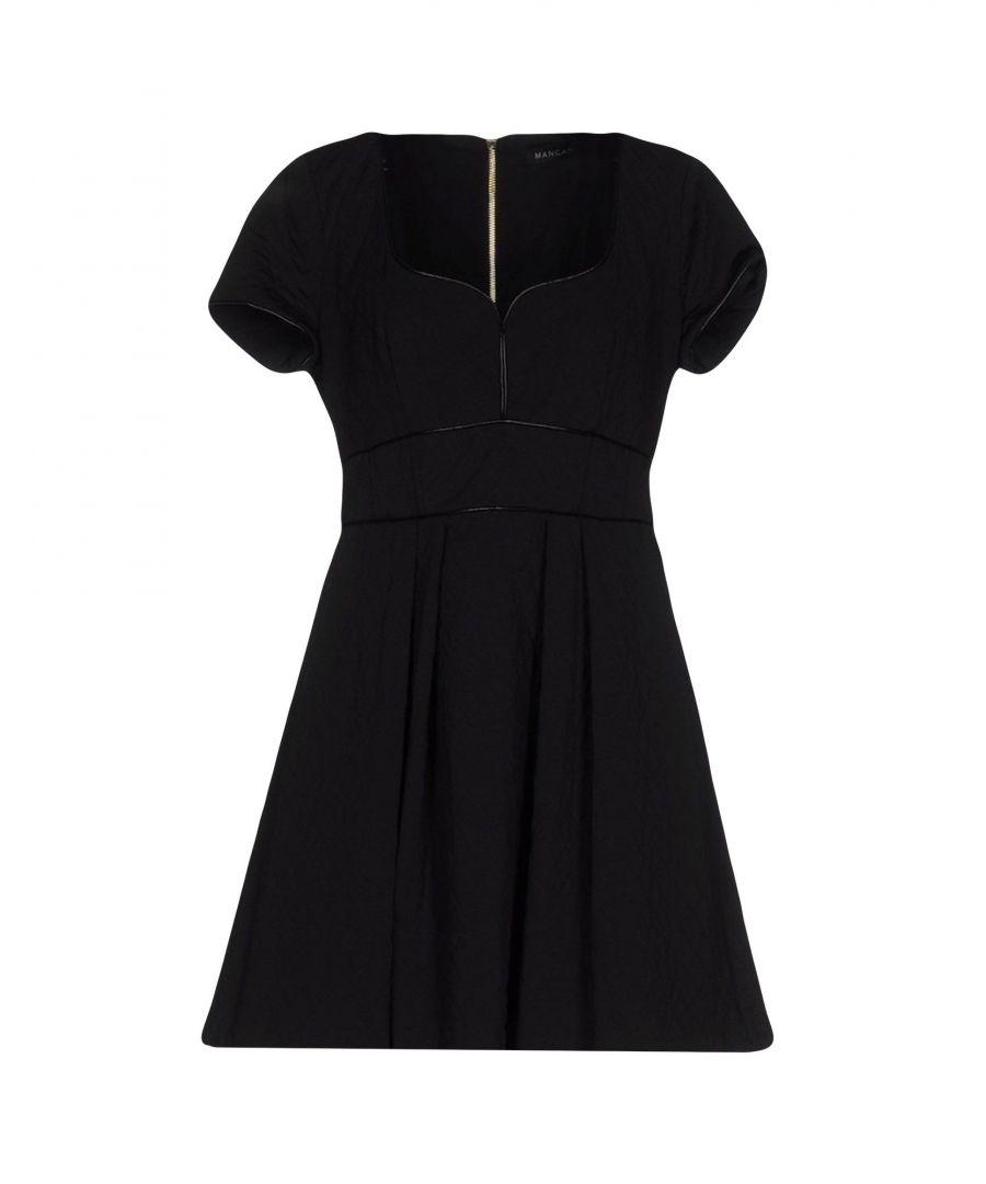 Image for Mangano Black Faux Leather Short Sleeve Dress