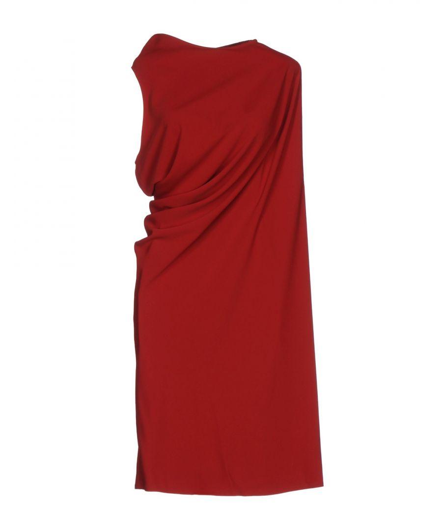 Image for MM6 Maison Margiela Brick Red Draped Sleeveless Dress