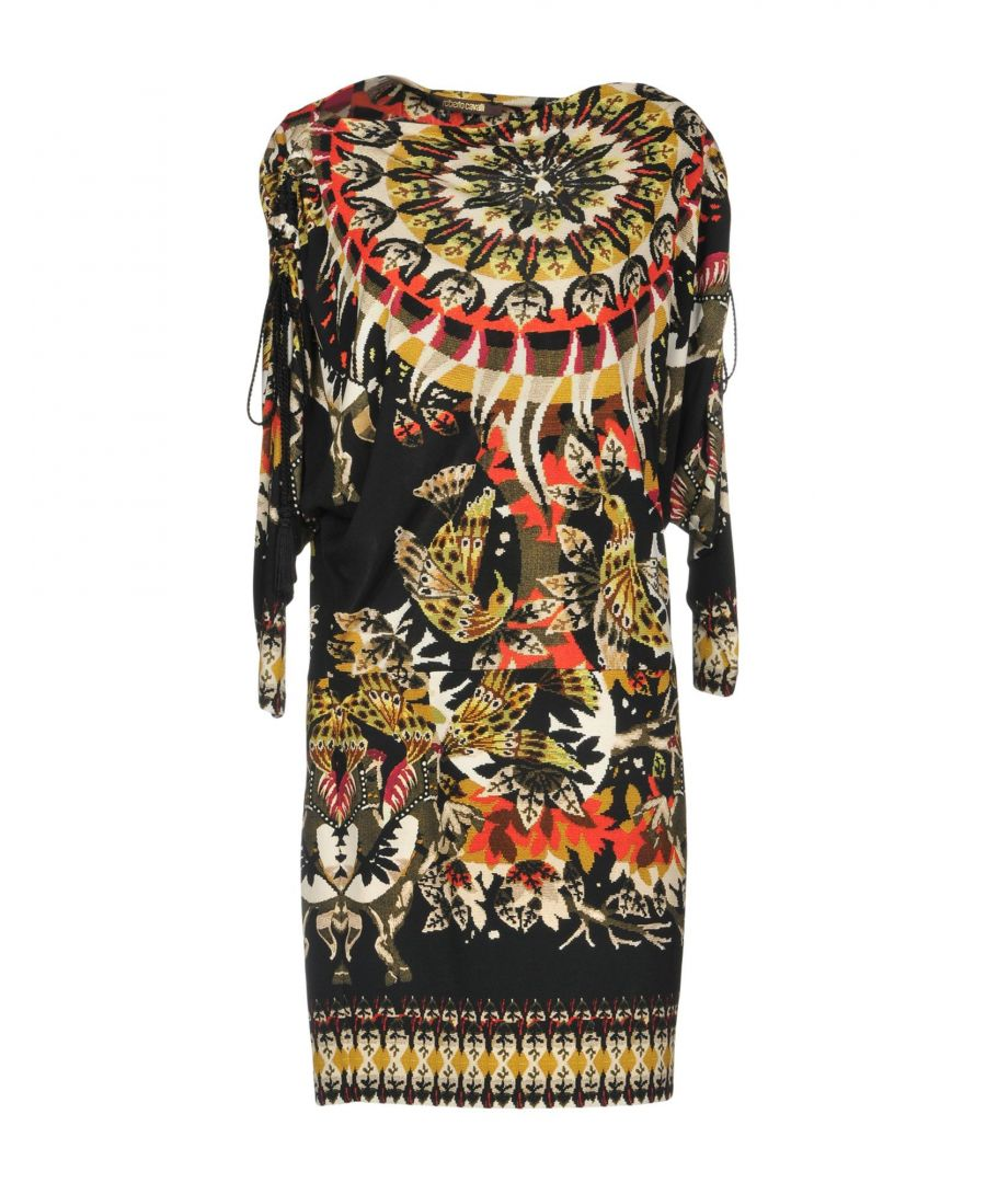 Image for Roberto Cavalli Black Print Long Sleeve Dress