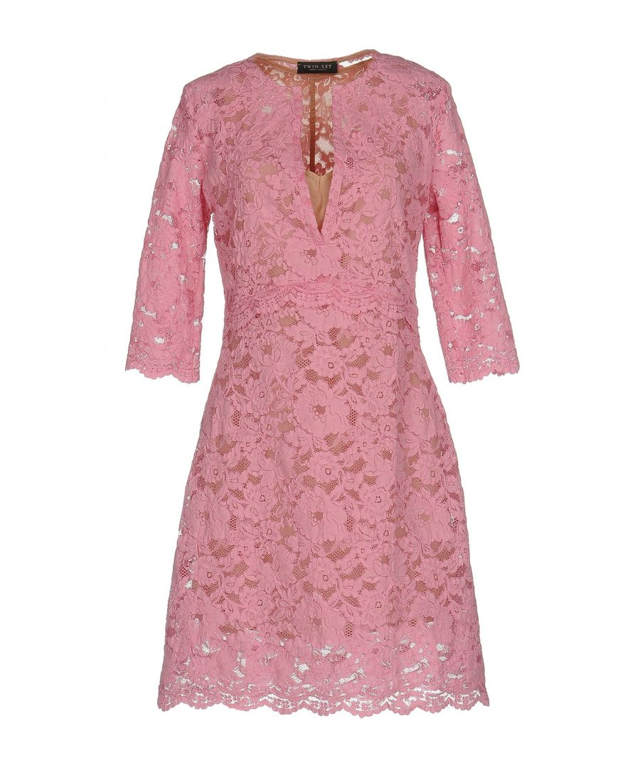 Image for Twinset Pink Cotton Lace Dress