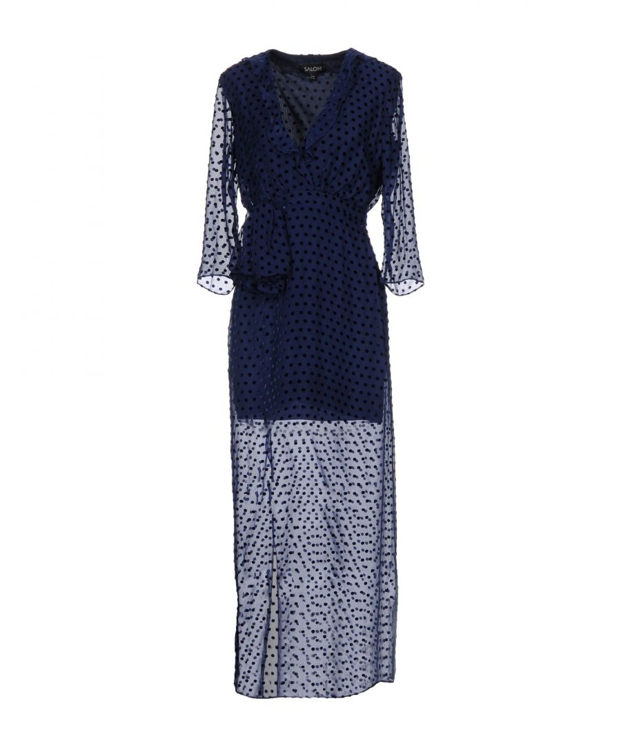 Image for Saloni Dark Blue Long Sleeve Dress
