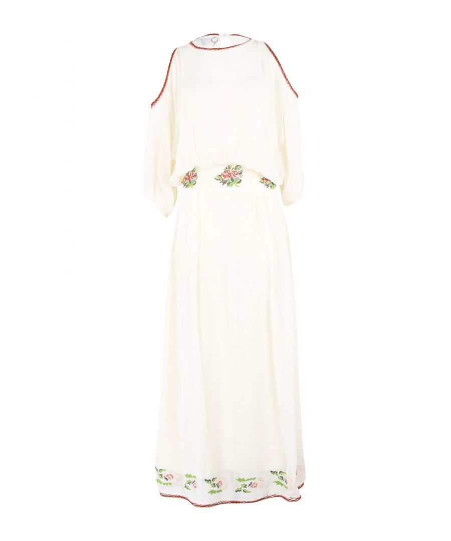 Image for Twin-Set Jeans Ivory Crepe Dress With Embroidery Detail