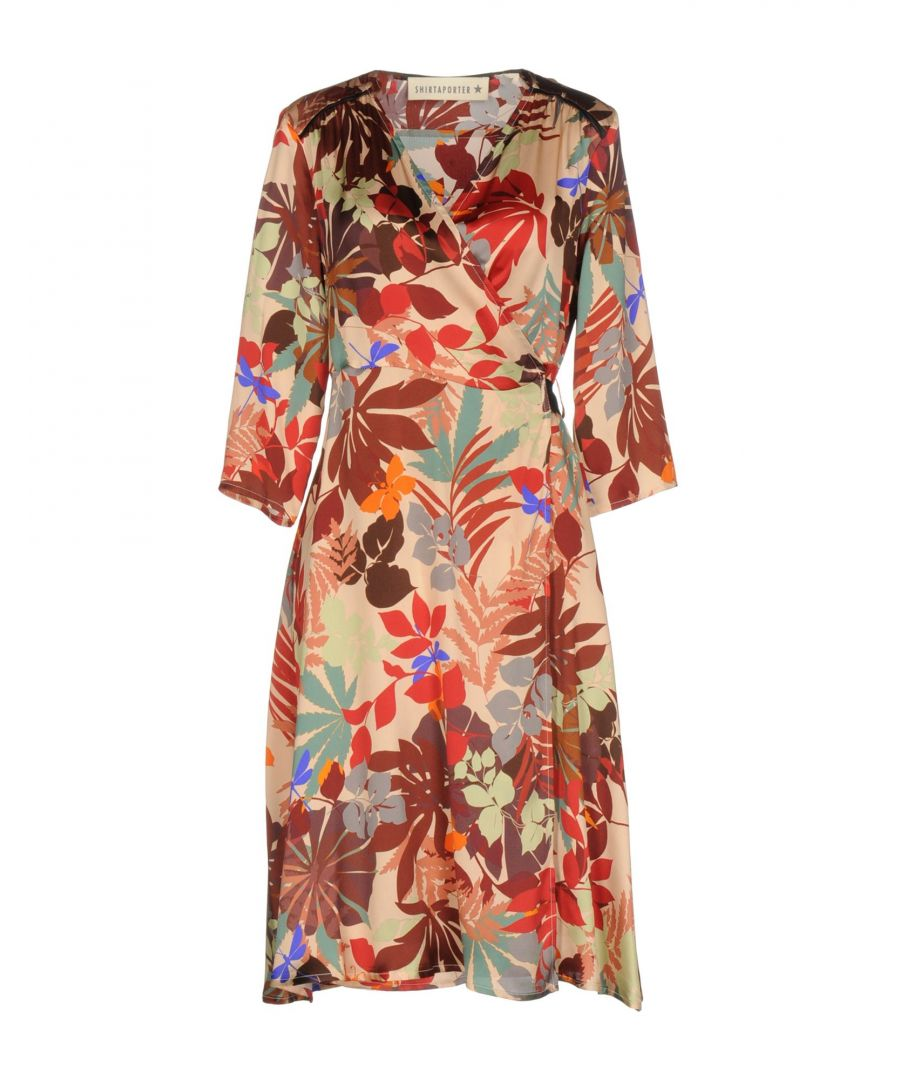 Image for Shirtaporter Red Floral Design Silk Dress With Three Quarter Length Sleeves