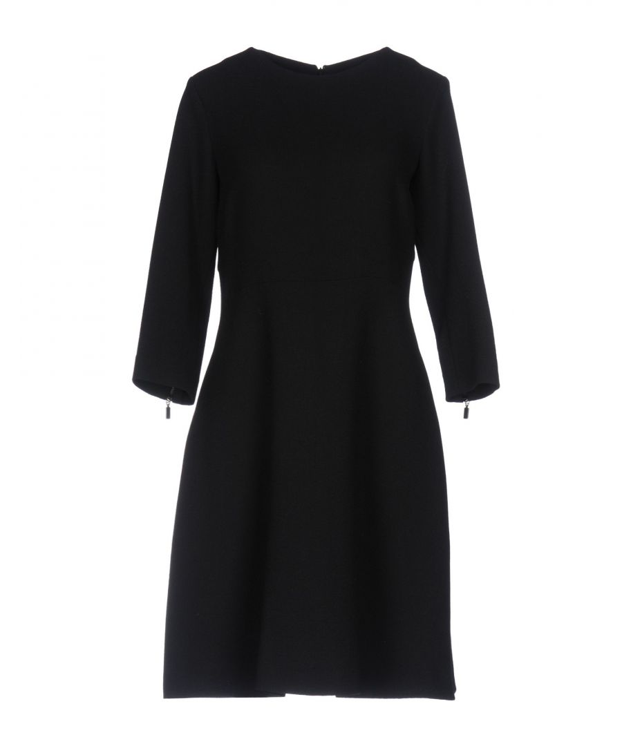 Image for Antonelli Black Virgin Wool Three Quarter Sleeve Dress