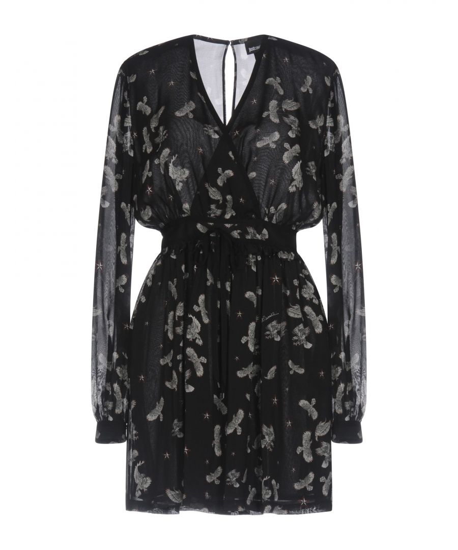 Image for Just Cavalli Black Print Long Sleeve Short Dress