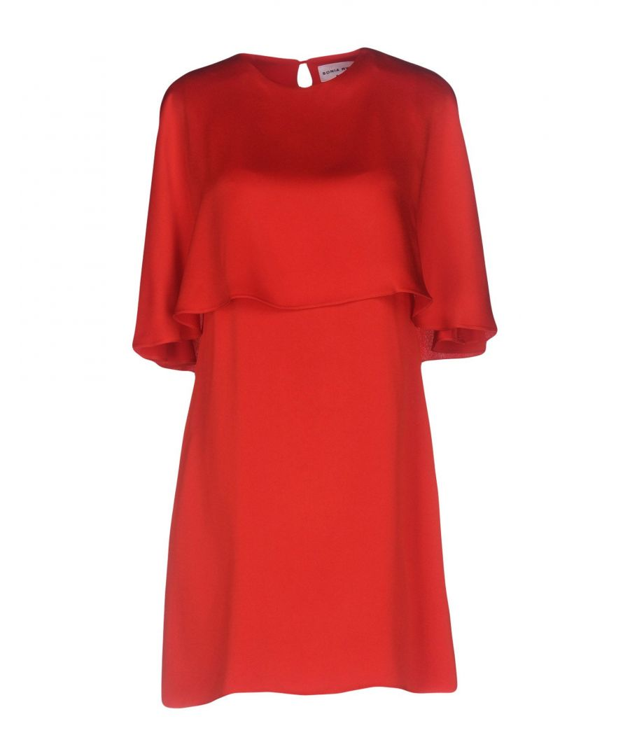 Image for Sonia Rykiel Red Satin Short Sleeve Dress