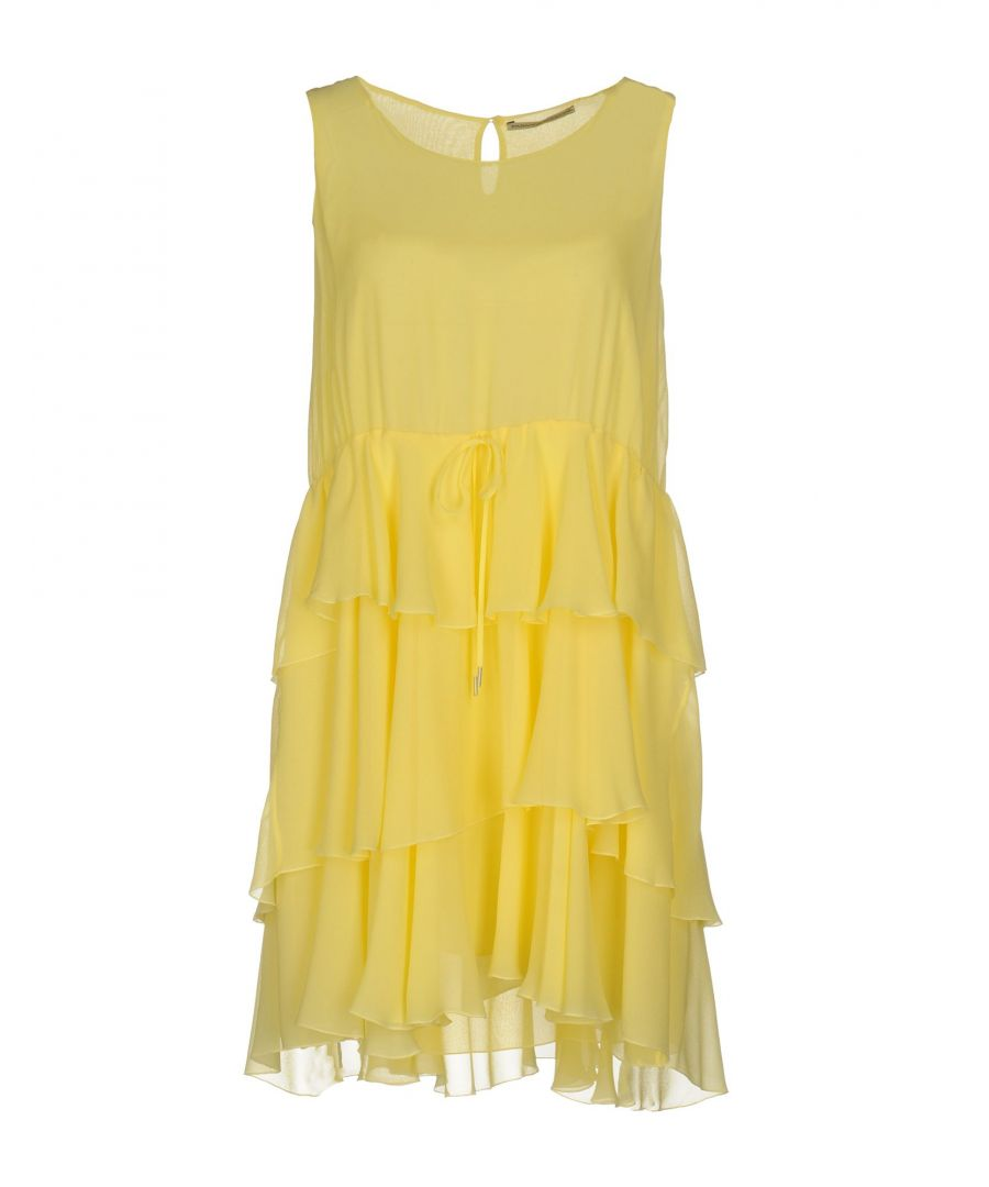 Image for Ermanno Scervino Yellow Silk Ruffle Dress