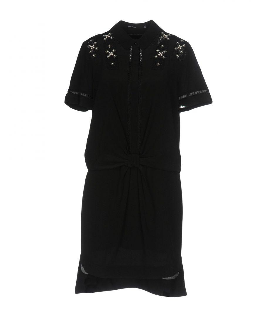 Image for Karen Millen Black Silk Embellished Short Sleeve Dress