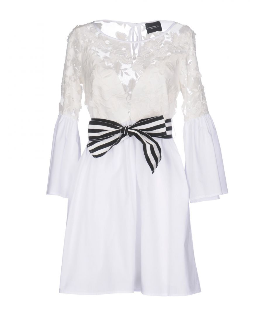 Image for Atos Lombardini White Cotton Lace Dress