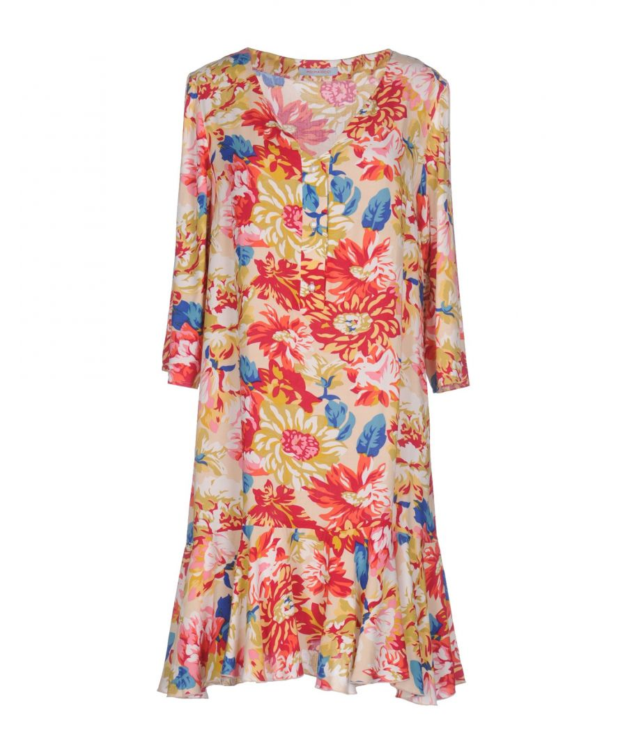 Image for M By Maiocci Beige Floral Design Long Sleeve Dress