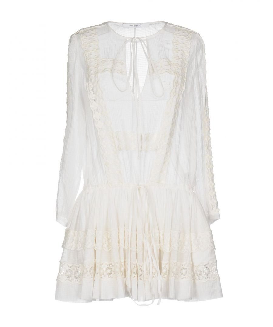 Image for Givenchy White Cotton Lace Long Sleeve Dress