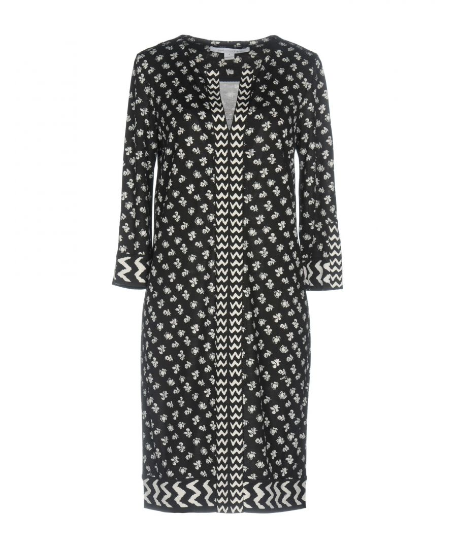 Image for Diane Von Furstenberg Black Print Silk Dress