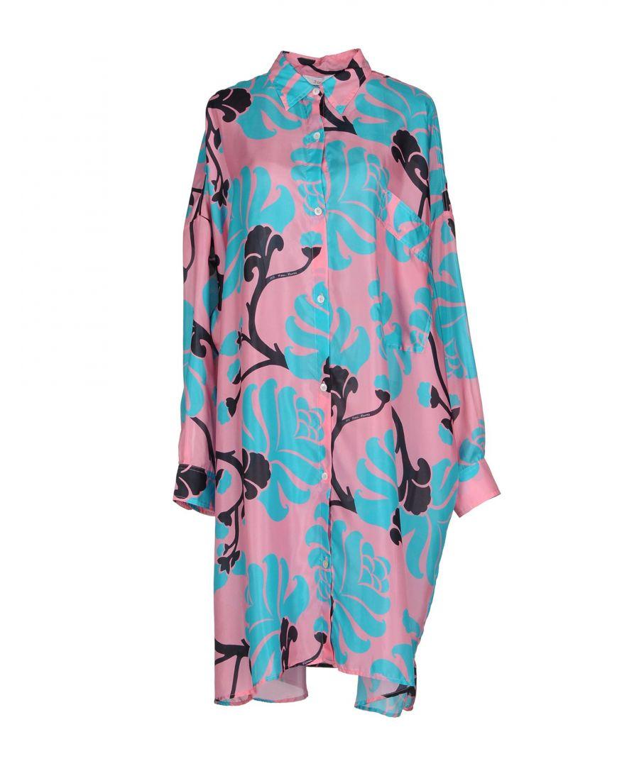 Image for Jucca Pink Silk Floral Design Shirt Dress