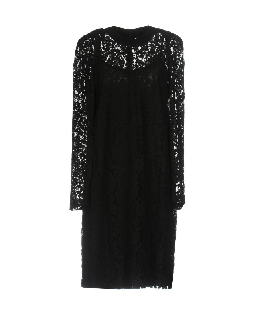 Image for DKNY Black Cotton Lace Long Sleeve Dress