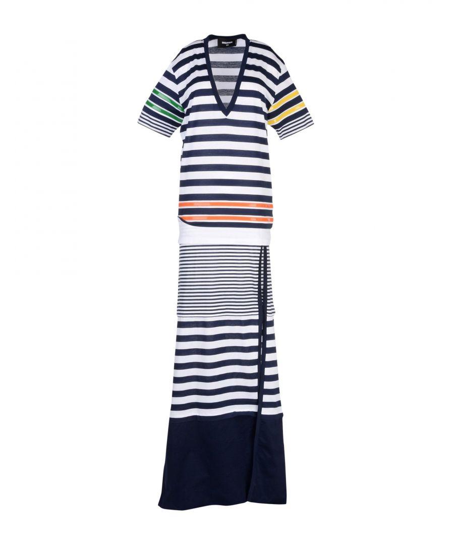 Image for Dsquared2 Dark Blue Stripe Cotton Full Length Dress