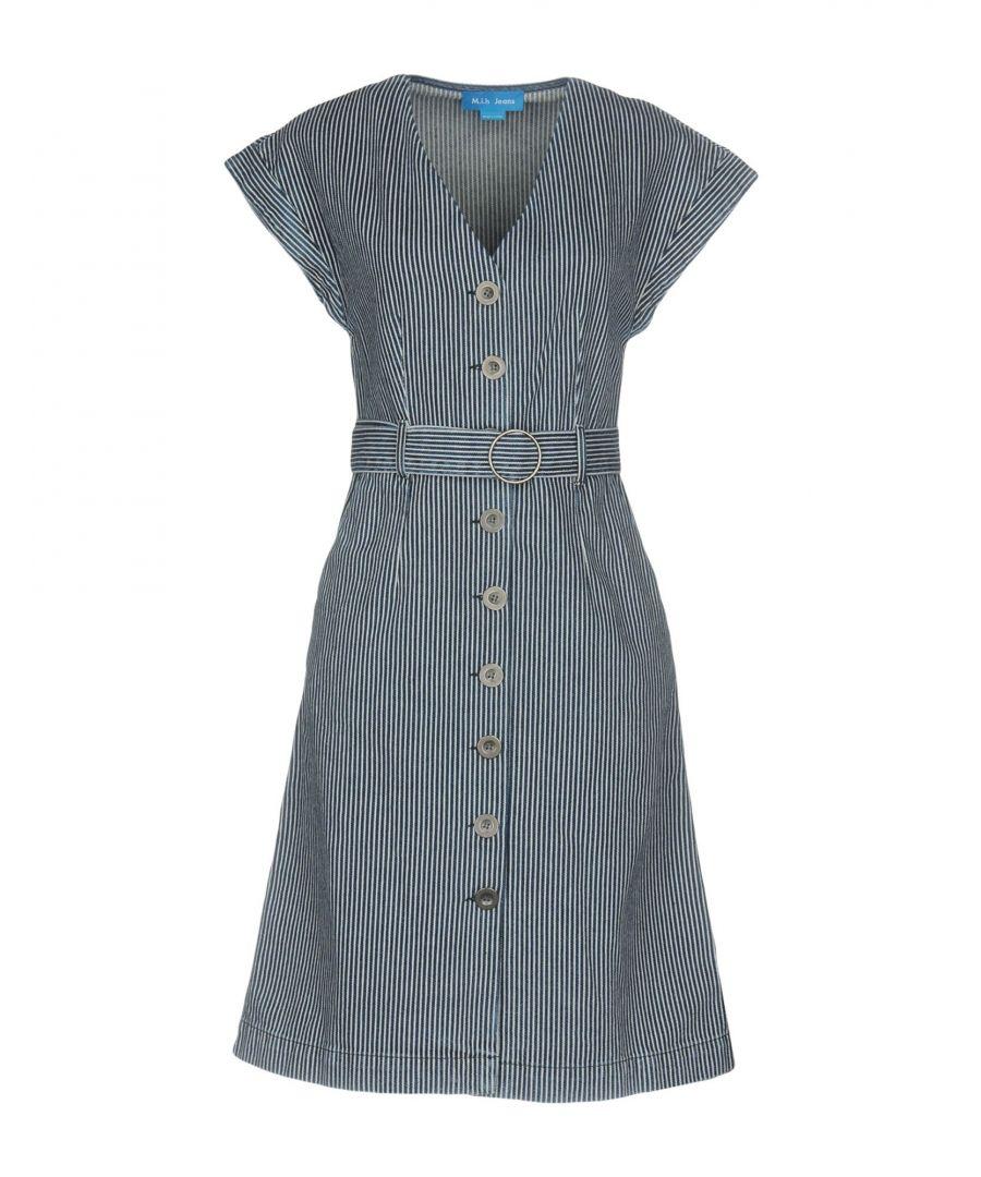 Image for M.I.H Jeans Dark Blue Cotton Stripe Short Sleeve Shirt Dress