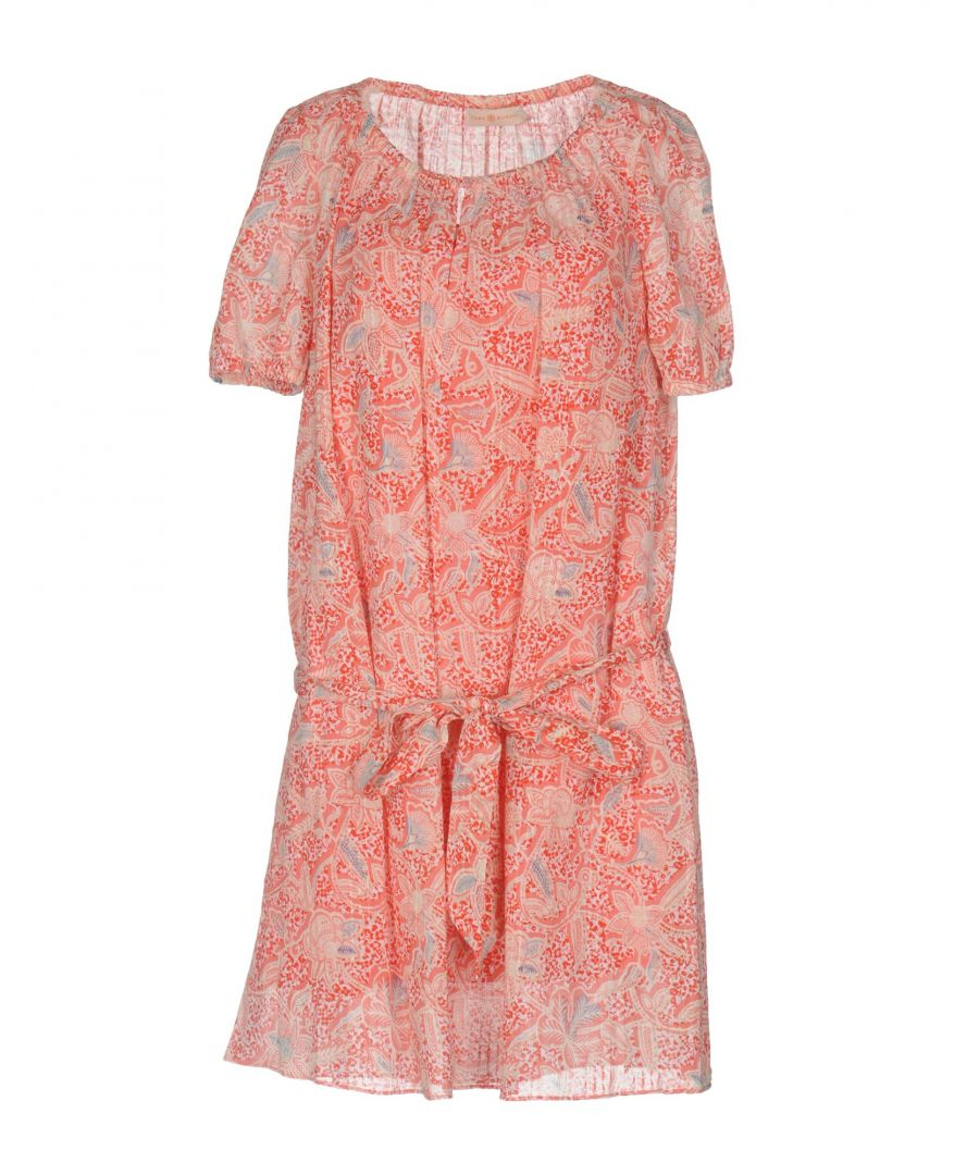 Image for Tory Burch Red Floral Design Short Sleeve Dress