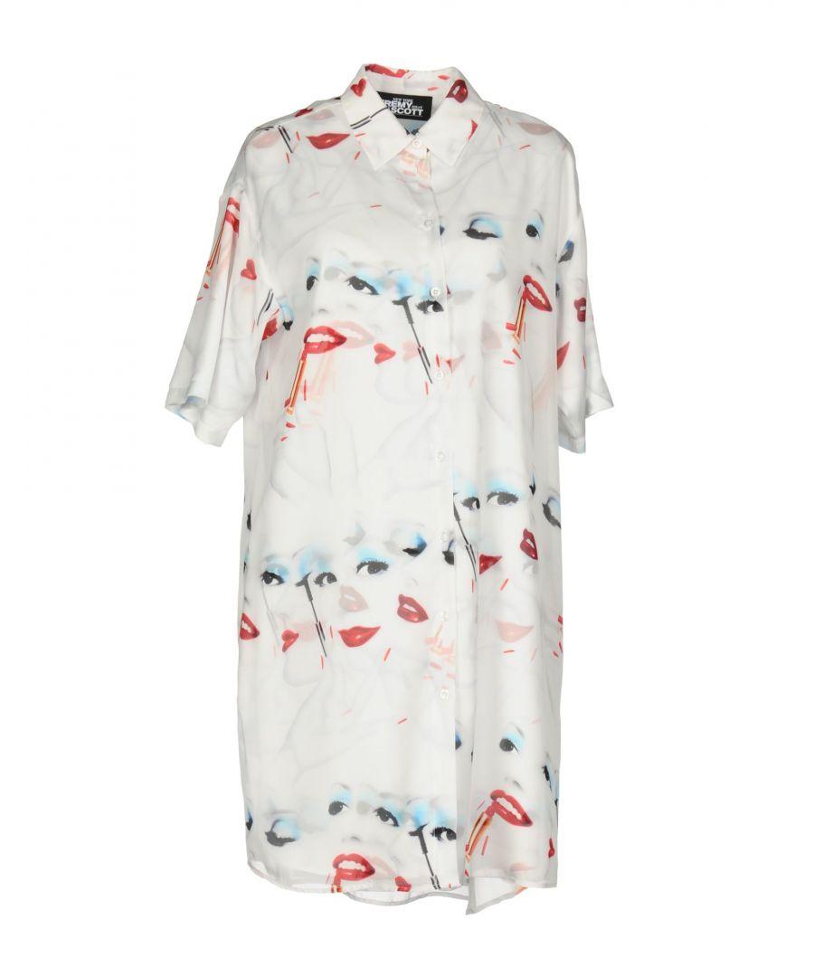 Image for Jeremy Scott White Print Crepe Shirt Dress