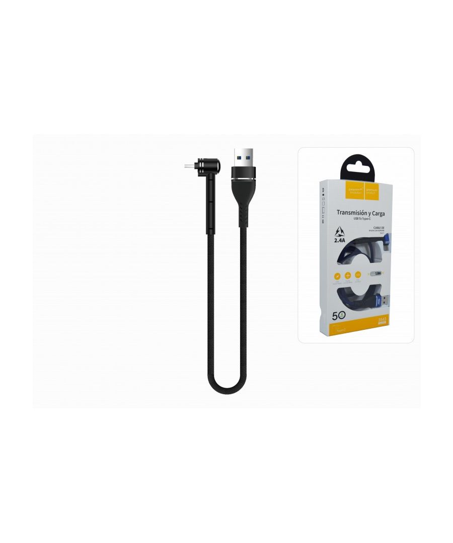 Image for USB-C Cable Quick Charge 2.4A 100cm Nylon Braided Connector Stand Desktop