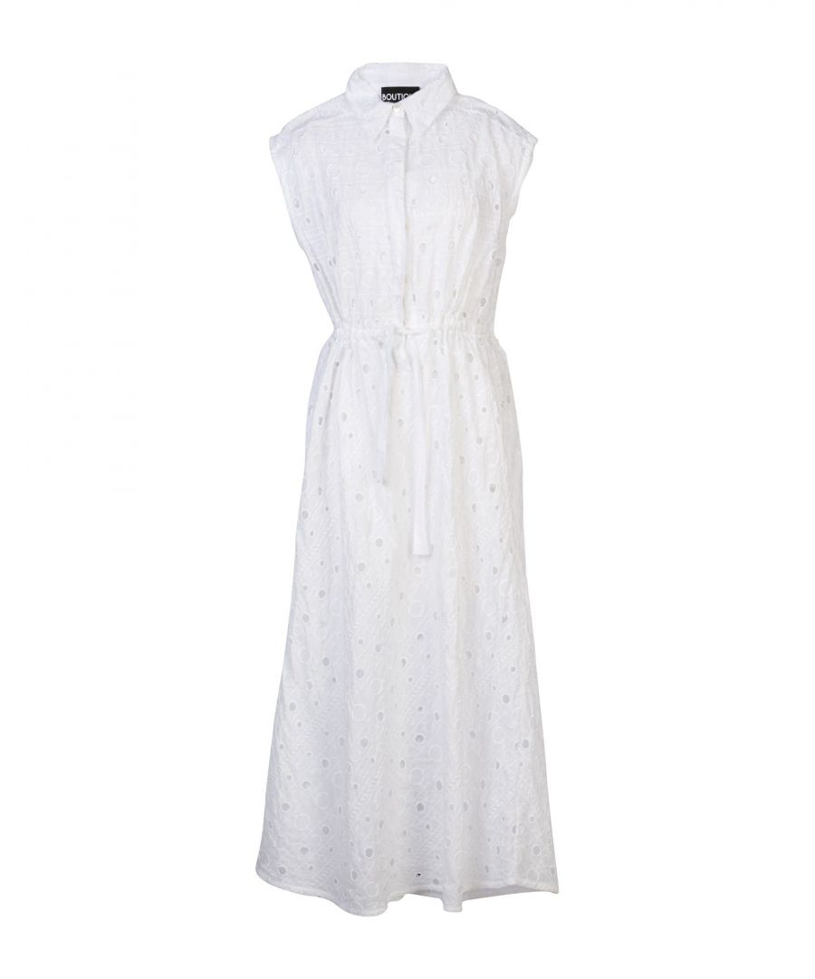 Image for Boutique Moschino White Cotton Lace Sleeveless Shirt Dress
