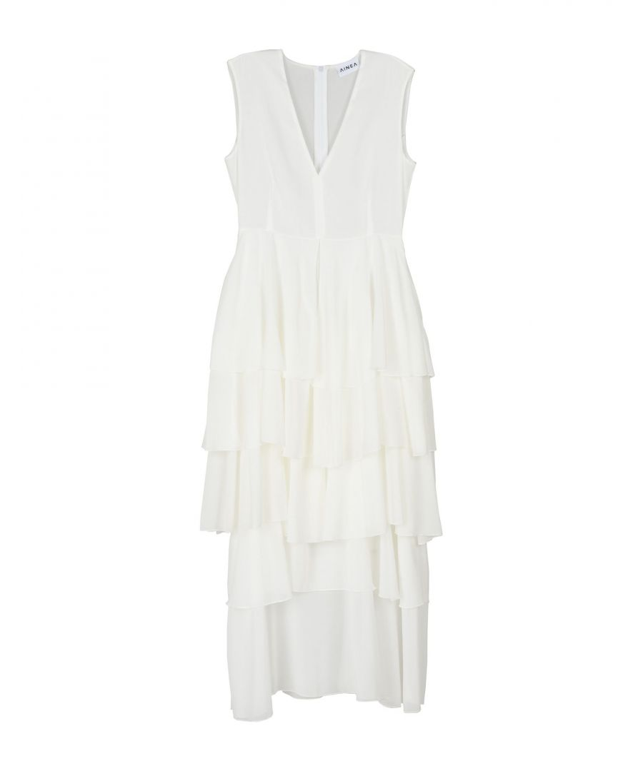 Image for Ainea White Crepe Ruffle Dress