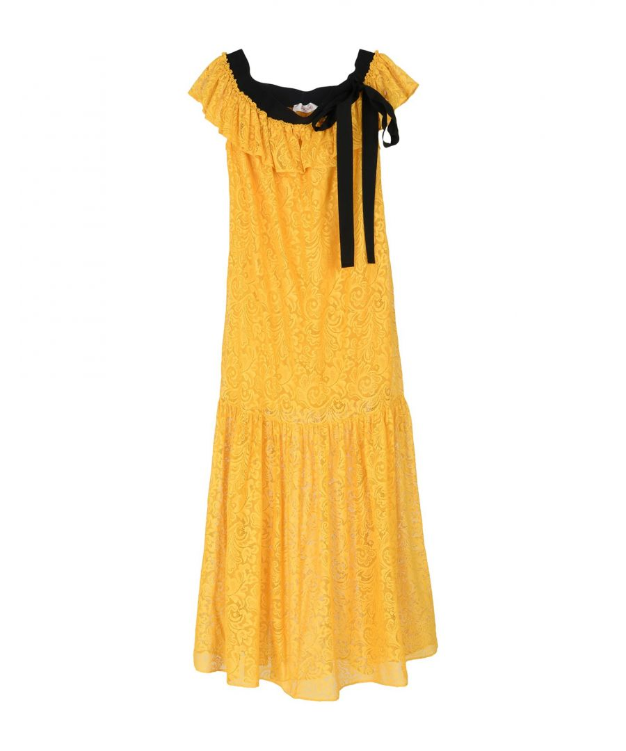 Image for Jucca Ochre Cotton Lace Dress