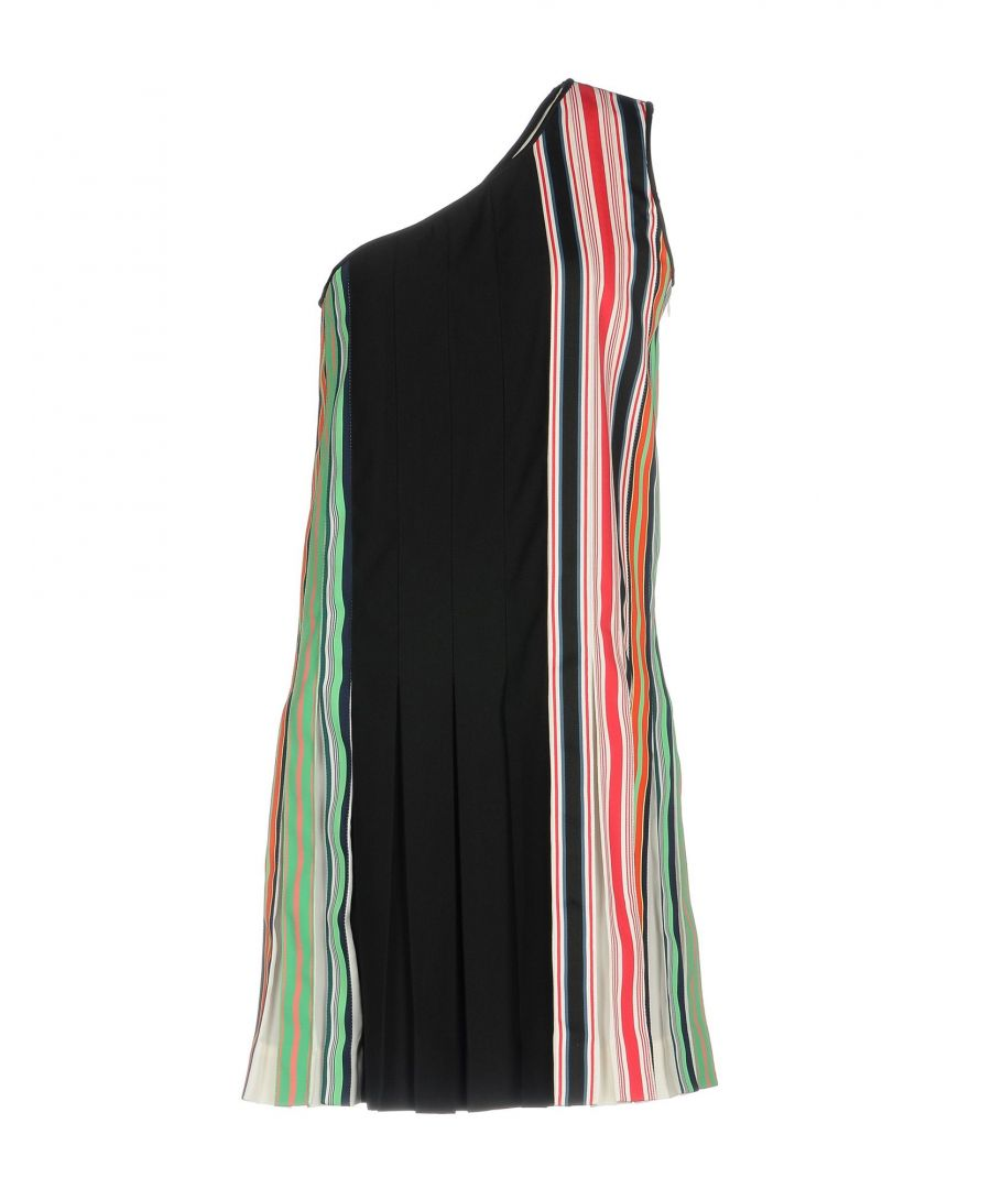 Image for Diane Von Furstenberg Black Stripe One Shoulder Dress