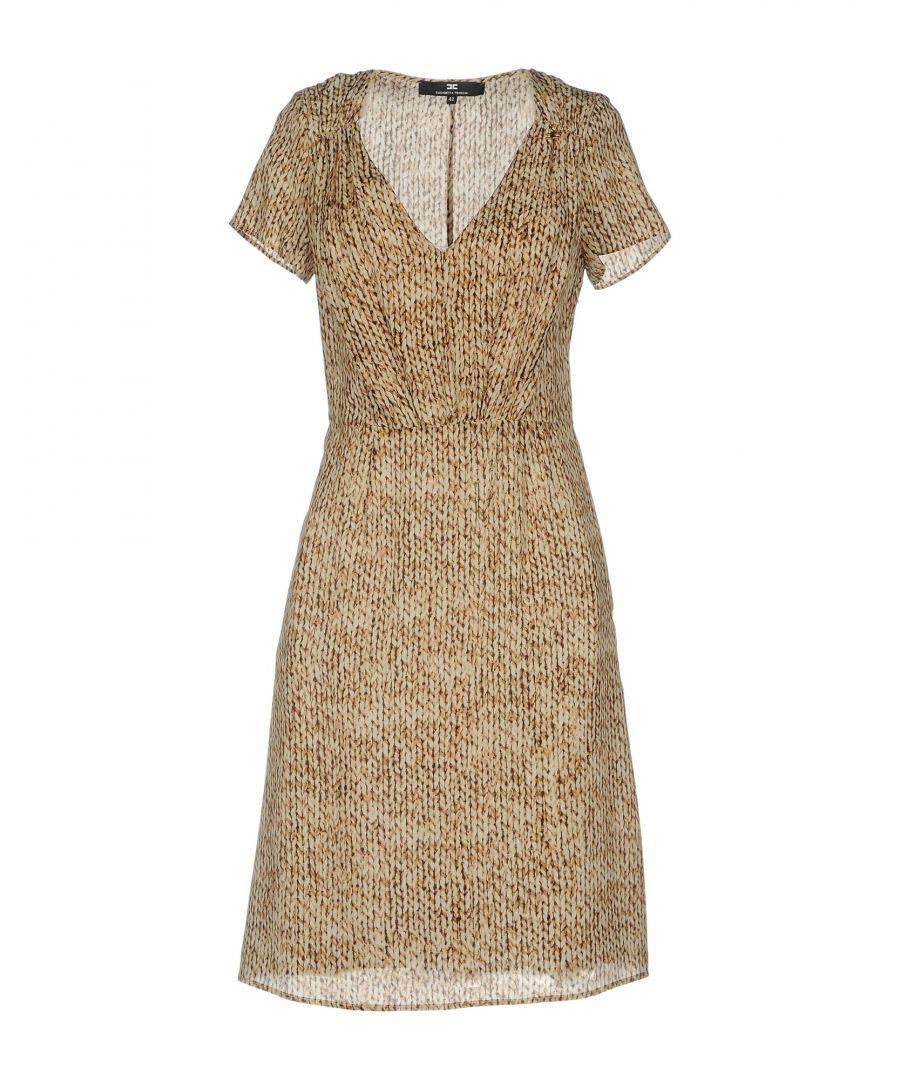 Image for Elisabetta Franchi Sand Print Silk Short Dress