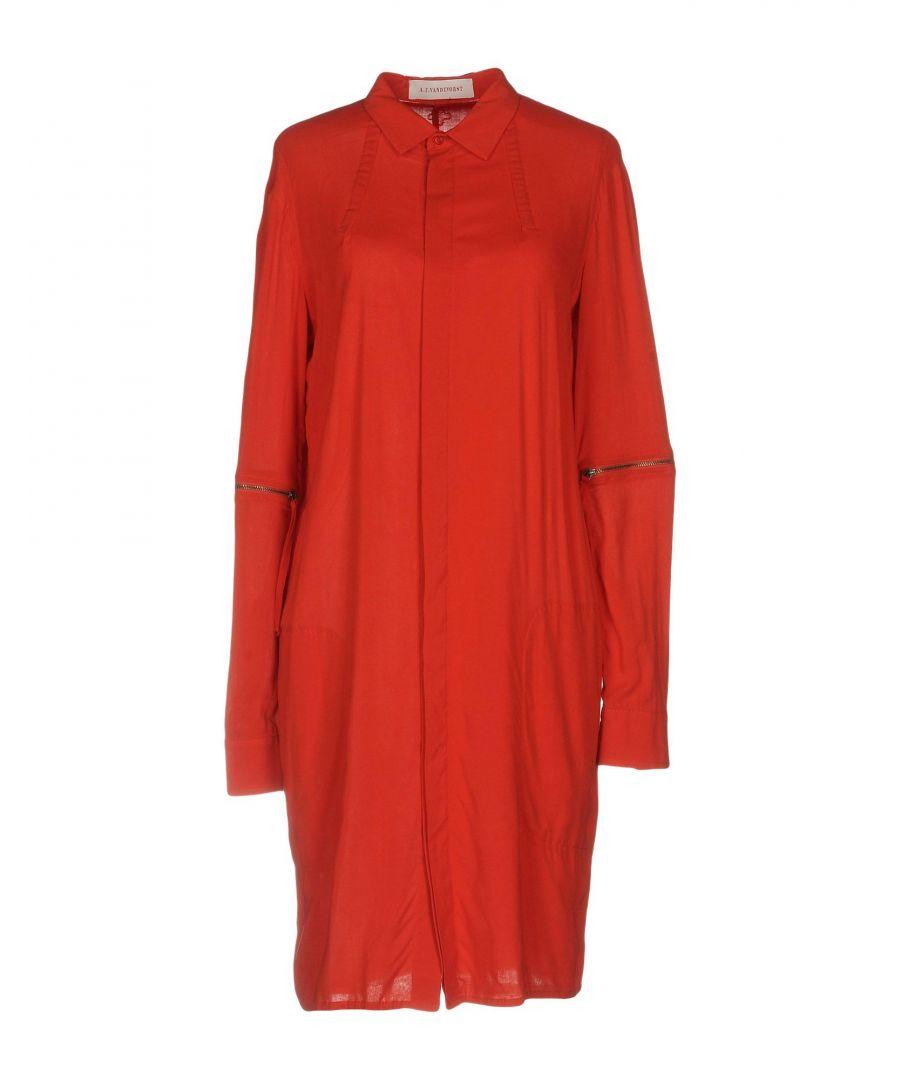 Image for A.F.Vandevorst Red Long Sleeve Shirt Dress
