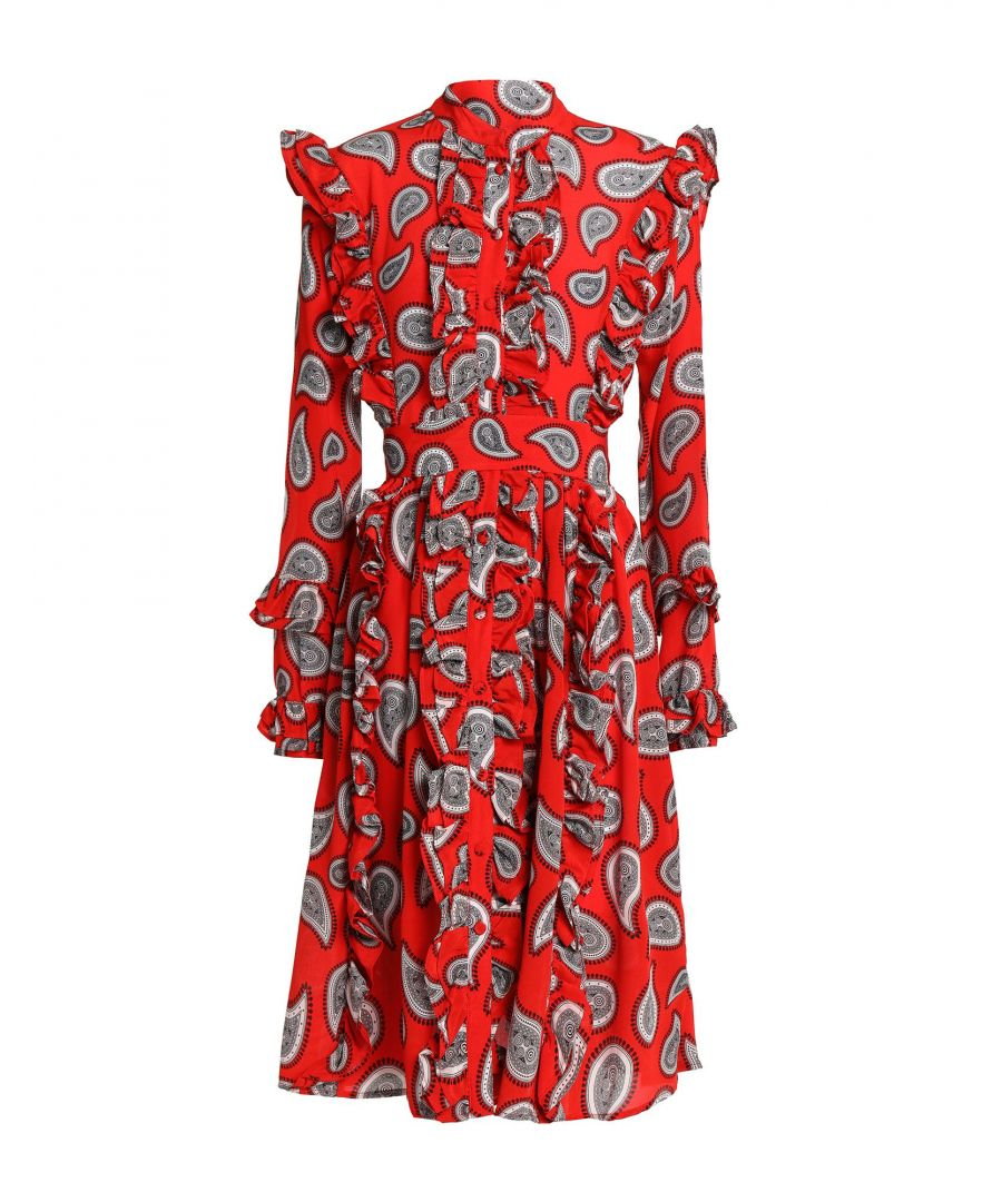 Image for Dodo Bar Or Red Paisley Print Silk Dress