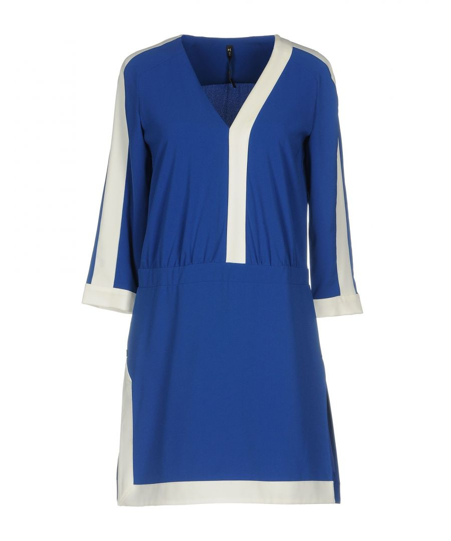 Image for Manila Grace Blue Contrast Long Sleeve Dress