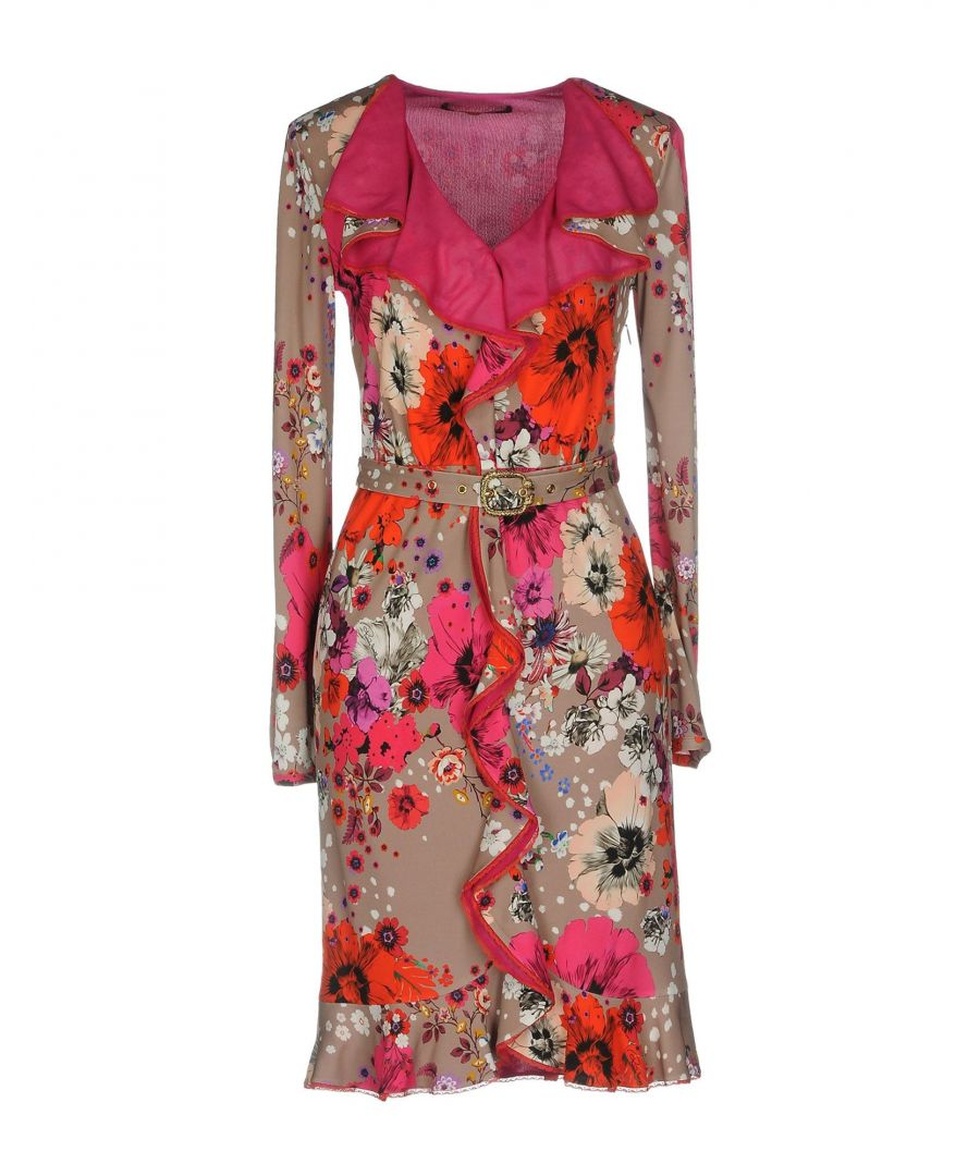 Image for Roberto Cavalli Dove Grey Floral Design Dress