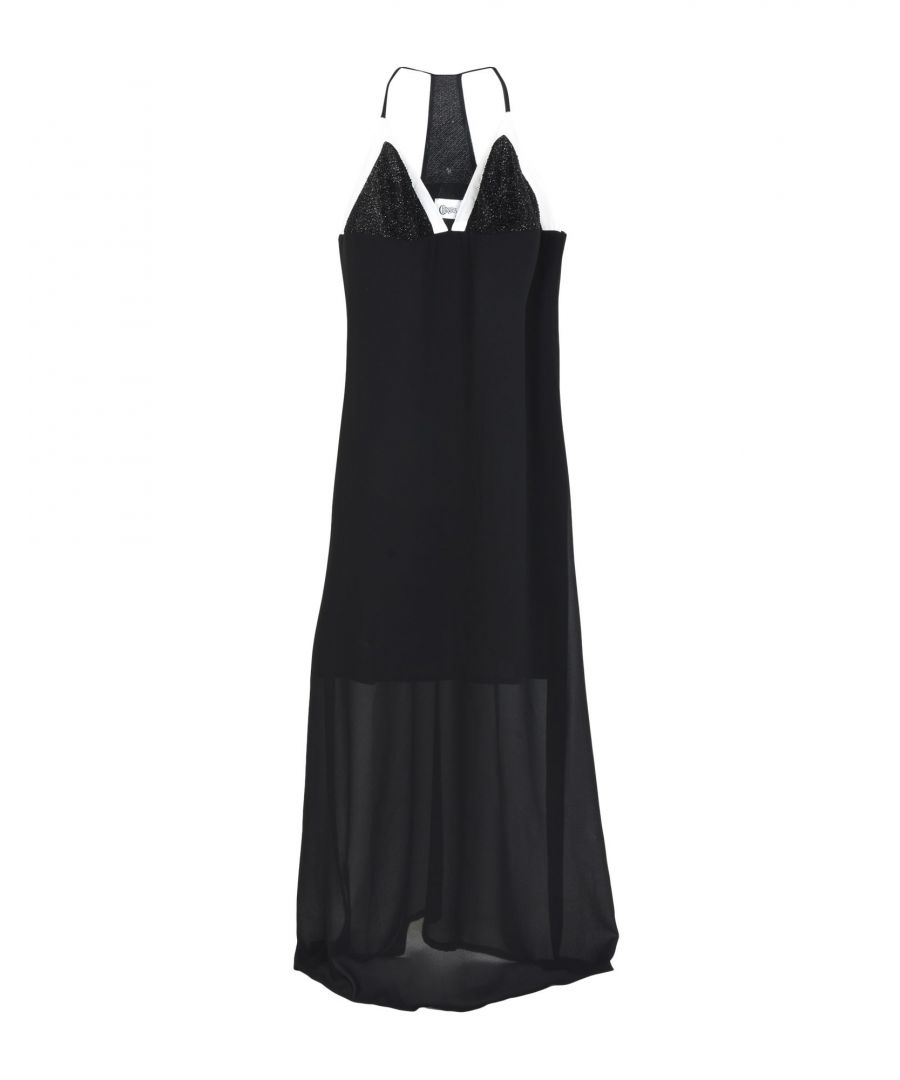 Image for Christies Black Crepe Plunge Neckline Dress