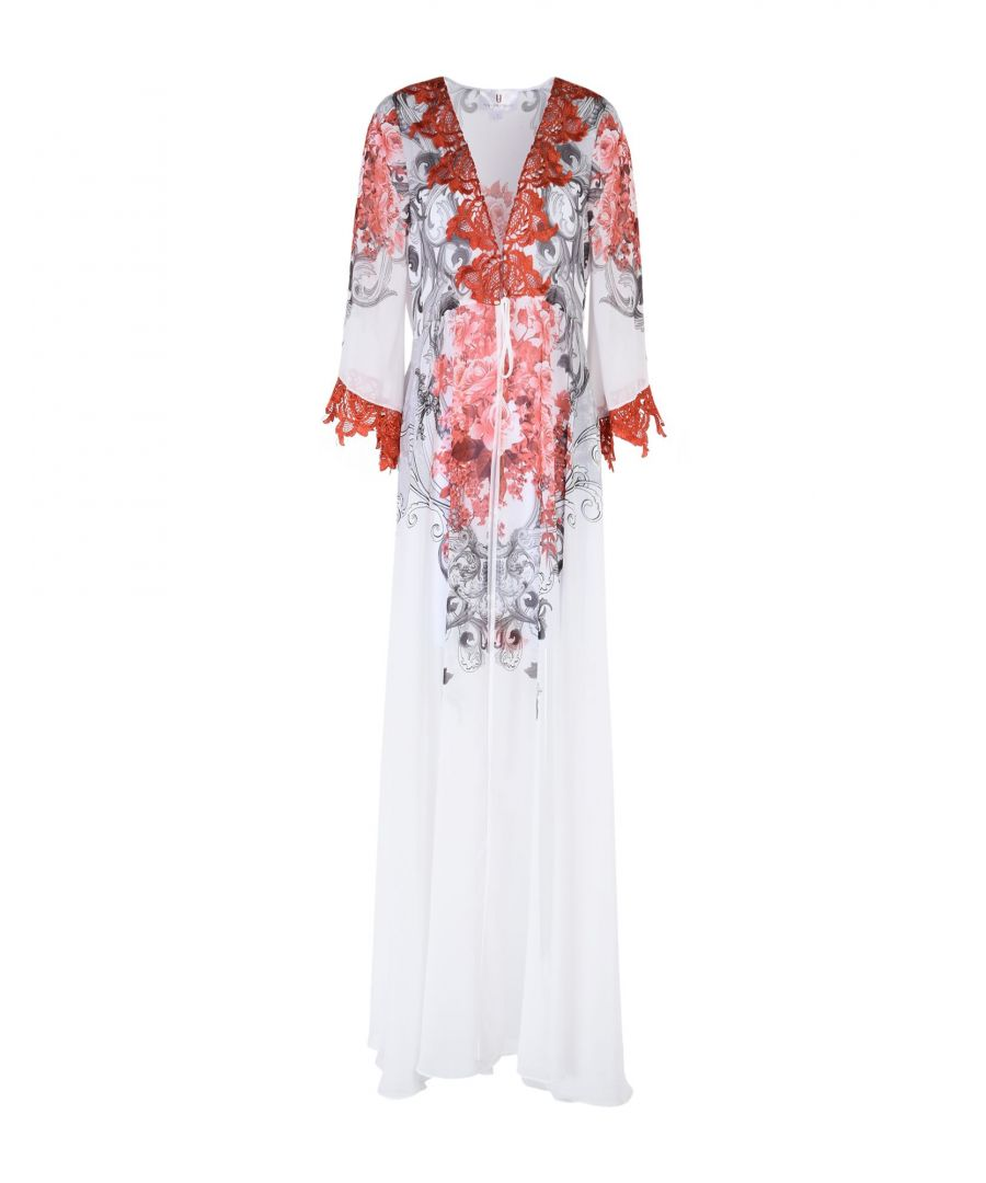 Image for Forever Unique White Crepe And Lace Kimono