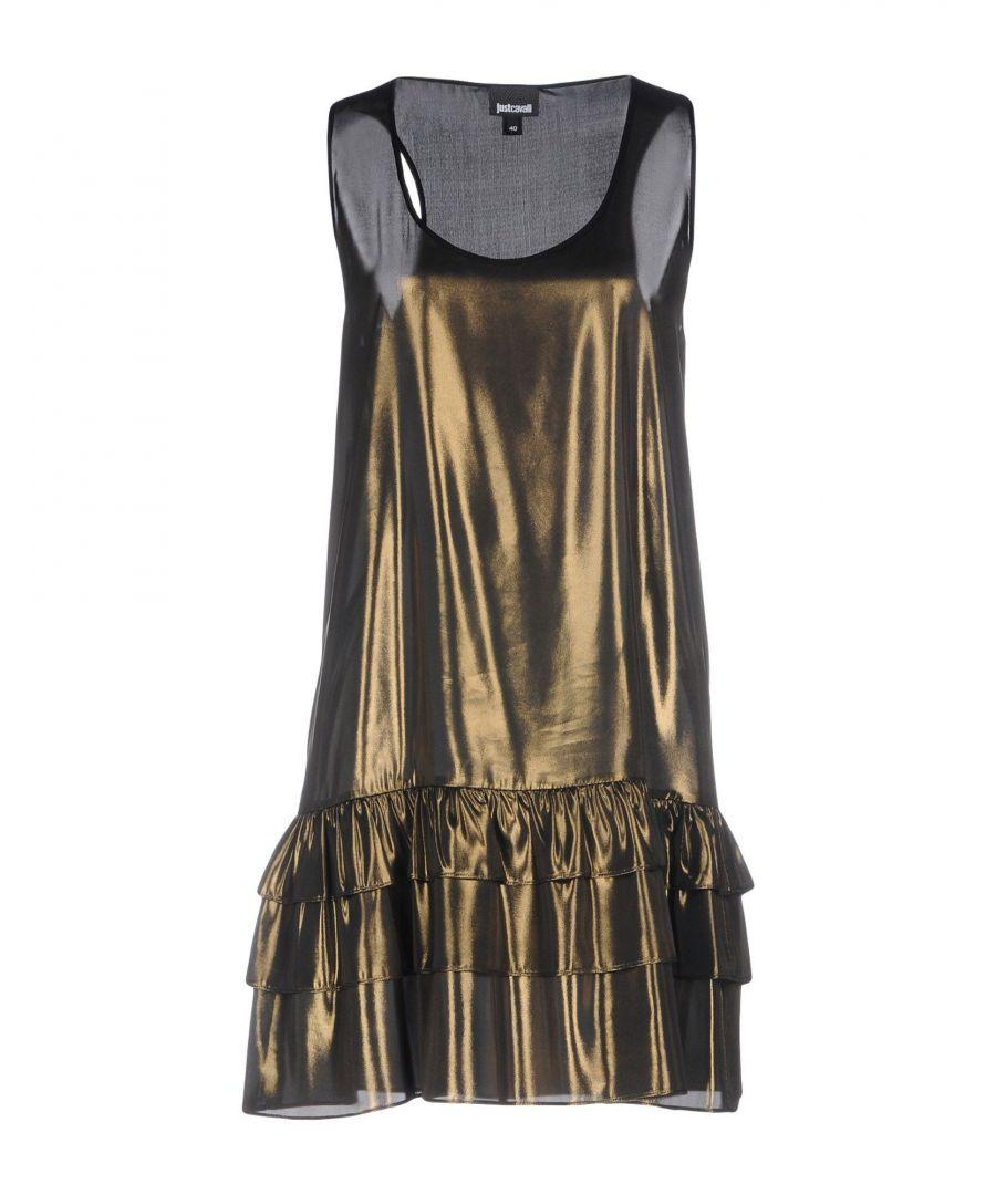 Image for Just Cavalli Bronze Ruffle Sleeveless Dress