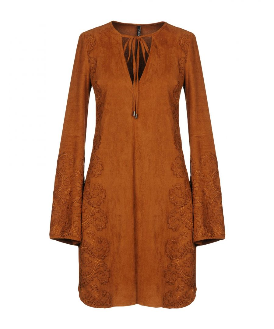 Image for Plein Sud Brown Embroidered Long Sleeve Dress
