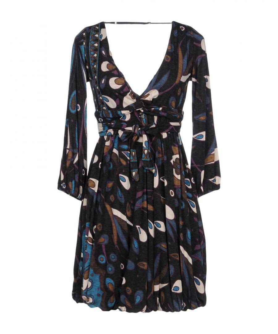 Image for Elisabetta Franchi For Celyn B. Steel Grey Print Long Sleeve Dress