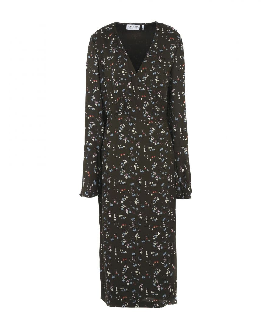 Image for Essentiel Antwerp Military Green Print Long Sleeve Dress