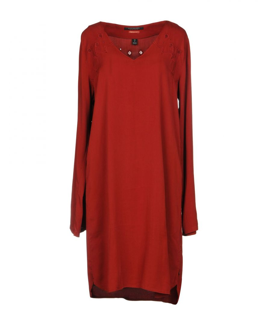 Image for Maison Scotch Rust Embroidered Detail Dress