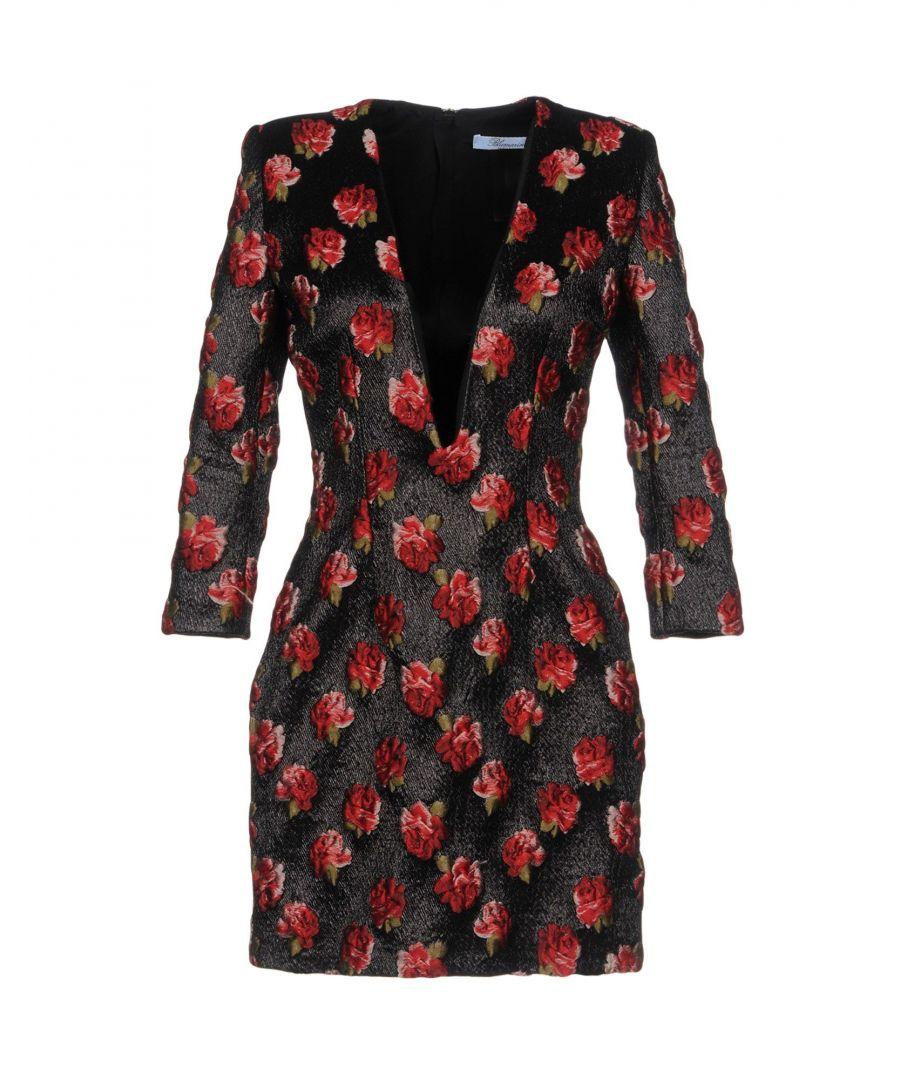 Image for Blumarine Black Floral Embroidered Plunge Neckline Dress