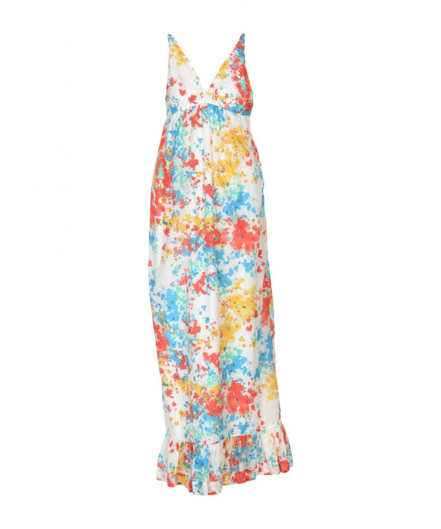Image for Pinko White Print Cotton Full Length Dress