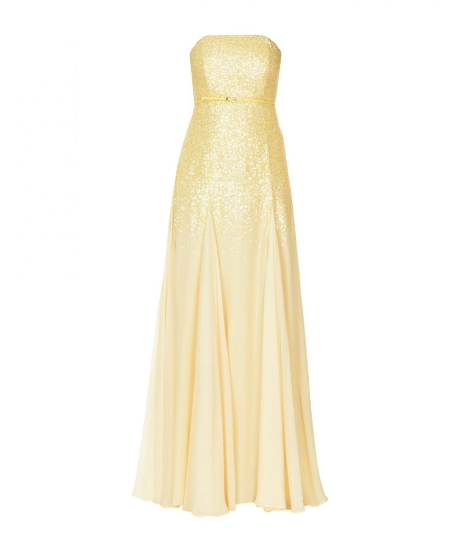 Image for Halston Yellow Crepe Sequinned Strapless Dress